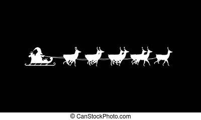 Santa Claus in sleigh pulled by reindeers