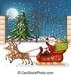 Santa Claus in sleigh with reindee