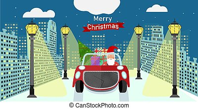 Santa Claus in the city in a car with gifts and a Christmas tree rides on the road at night