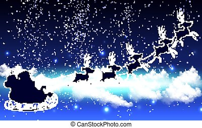 Santa Claus in the cloudy sky