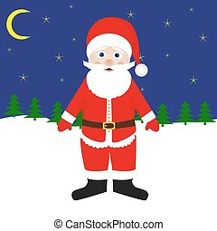 santa claus in the forest at night