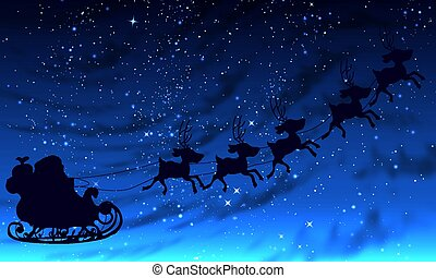 Santa Claus in the night starry sky