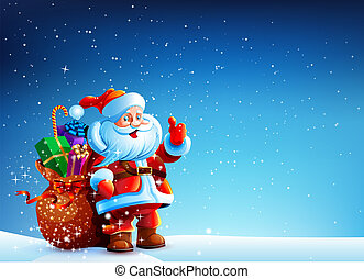 Santa Claus in the snow with a bag of gifts - Santa Claus...