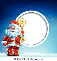 Santa Claus in the snow with a thumbs up and golden key