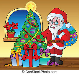 Santa Claus indoor scene 5 - vector illustration.