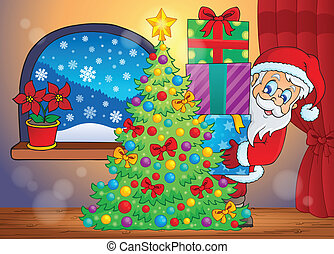 Santa Claus indoor scene 7 - eps10 vector illustration.