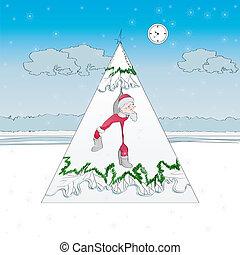 A cartoon with Santa Claus