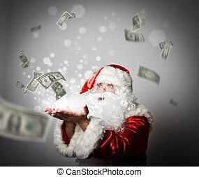 Santa Claus is blowing dollars.