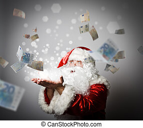 Santa Claus is blowing Euro.