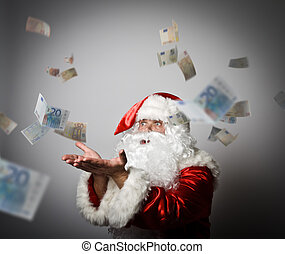 Santa Claus is blowing Euro.