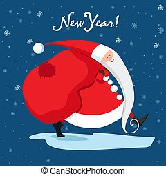 Santa Claus is carrying gifts. Blue New Year card. Vector illustration