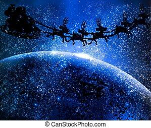Santa Claus is flying in space
