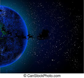 Santa Claus is flying in space on the planet