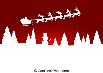 Santa Claus is flying with a reindeer team in the forest with Christmas trees