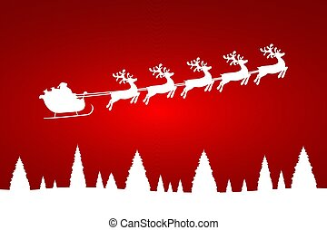 Santa Claus is flying with a reindeer team in the forest with trees
