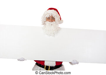 Santa Claus is holding a special offer board in his hands and smiles. Isolated on white.