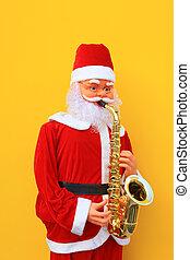 Santa Claus is playing Sax