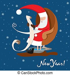 Santa Claus is reading letter. New Year wishes. Vector illustration