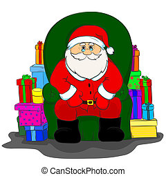 santa Claus is sitting in a chair
