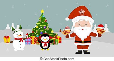 Santa Claus is standing at the Christmas tree and holding birds in his hands. Cute snowman and penguin with a gift on winter background. Winter holidays, cartoon style, vector
