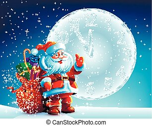 Santa Claus is standing in the snow with a bag of gifts on background sky
