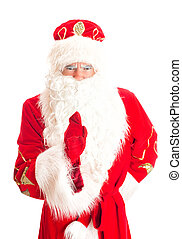 Santa Claus is warning someone. Isolated on white.