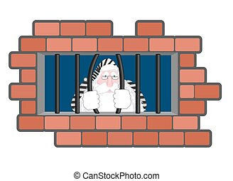 Santa Claus Jail. Window in prison with bars. Bad Santa criminal. New year is canceled. Christmas prison in striped robe