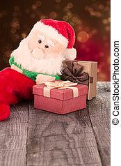 santa claus, juguete, y, cajas del regalo