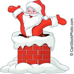 Santa Claus jumping from chimney - Happy Santa Claus jumping...