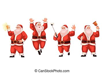 Santa Claus jumping, ringing a bell, making selfie, drinking beer