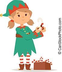 Santa Claus kid cartoon elf helper