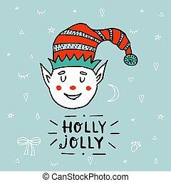 Santa Claus kid cartoon elf helper working with lettering Holly Jolly.