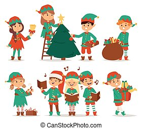 Santa Claus kids cartoon elf helpers vector illustration....