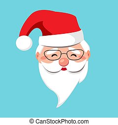 Santa Claus kind face with glasses and red hat isolated. Cheerful portrait with a white beard. Merry Christmas and Happy new year. Vector flat illustration. Design for greeting card, banner, poster
