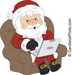 Santa Claus Laptop - Illustration of Santa Claus Using a...
