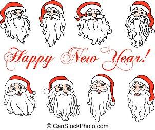 Santa Claus laughing faces icon set