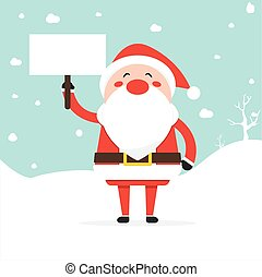 Santa Claus laughing holding an empty board