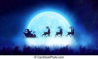 Santa Claus light on Christmas tree
