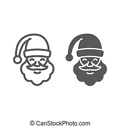 Santa claus line and glyph icon, christmas