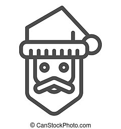 Santa claus line icon. Bearded face vector illustration isolated on white. Christmas character outline style design, designed for web and app. Eps 10.
