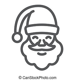 Santa claus line icon, christmas and character, face sign, vector graphics, a linear pattern on a white background.