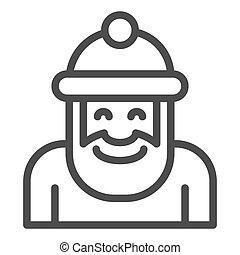 Santa claus line icon. Xmas character vector illustration isolated on white. Christmas outline style design, designed for web and app. Eps 10.