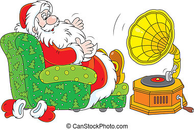 Santa Claus listening to music - Father Christmas sitting in...