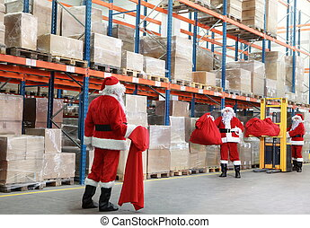 Santa claus looking for gifts