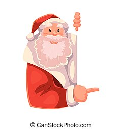Santa Claus looking from behind the wall and showing something