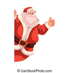 Santa Claus looking from behind the wall with thumb up