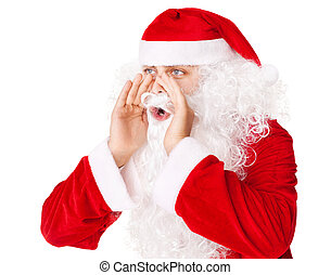 Santa Claus loud screaming calling out to someone isolated on white background