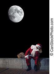 Santa Claus Magic Christmas night. Moon in night.
