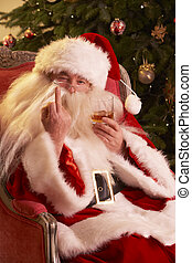 Santa Claus Making Rude Gesture To Camera In Front Of...