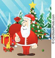 Santa Claus making thumbs up sign.